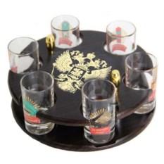 Мини-бар с цветными печатями на рюмках Герб