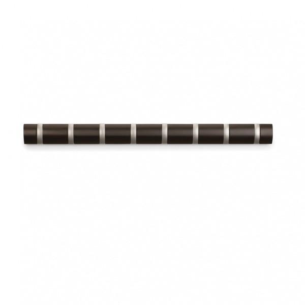 Настенная горизонтальная вешалка Flip, 8 крючков, эспрессо