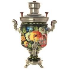 Угольный самовар на 5 литров с росписью Цветы на черном