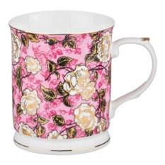 Розовая кружка Цветы, объем 400 мл