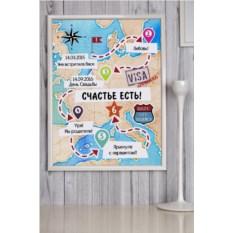 Постер в раме с вашим текстом и фото Путешествие