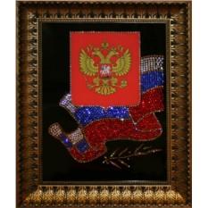 Картина с кристаллами Сваровски Флаг и Герб РФ