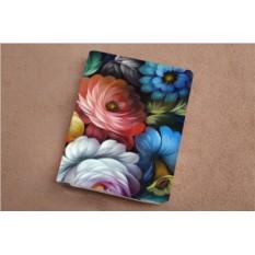 Горизонтальный кардхолдер - книжка из кожи Цветы Жостово