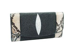 Женское портмоне из кожи ската и питона
