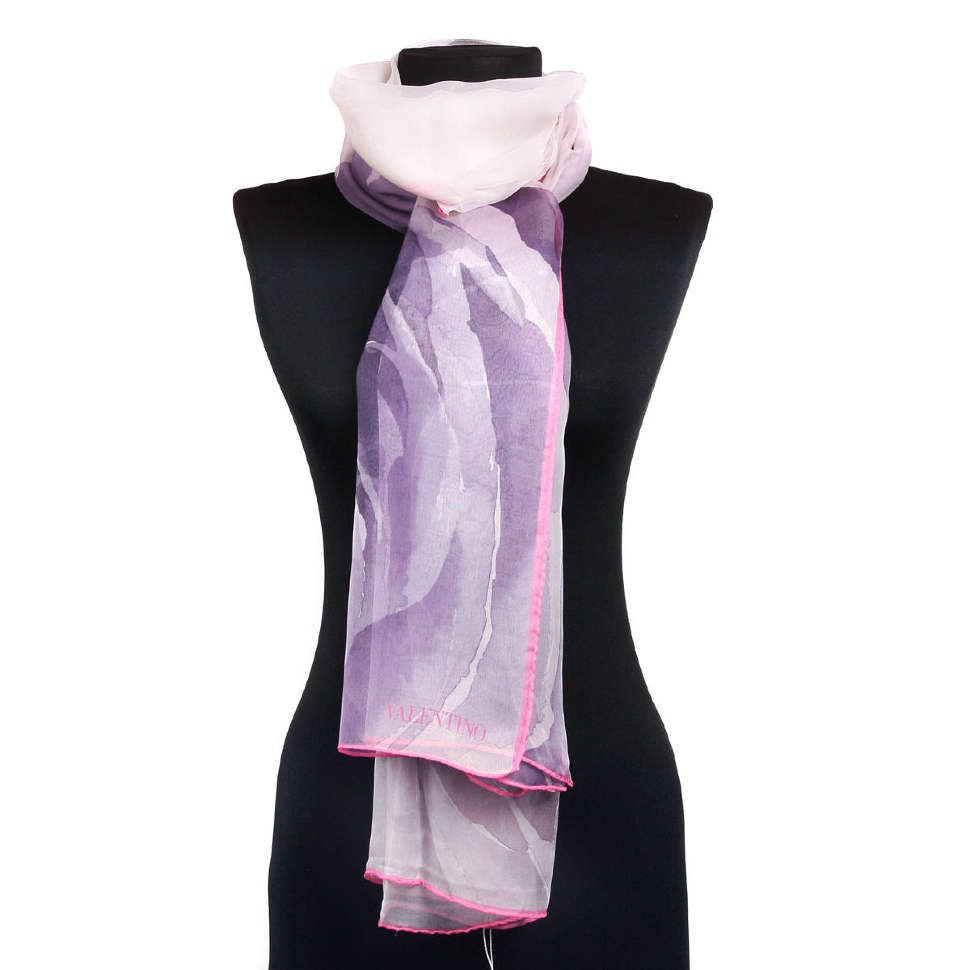 Женский шарф с большой розой Valentino