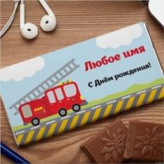 Шоколадная открытка Пожарная машина