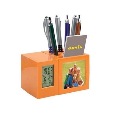 Подставка под ручки и визитки с часами