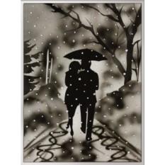 Картина с кристаллами Swarovski Влюбленные под дождем
