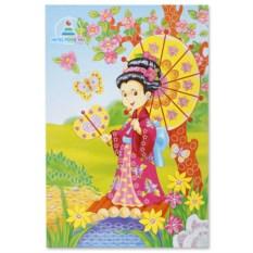 Аппликация со стразами «Девочка с зонтиком»
