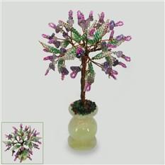 Дерево любви из аметиста в вазочке из оникса