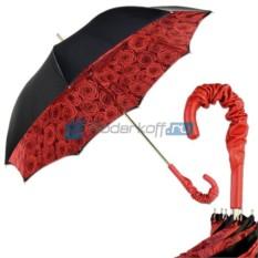 Зонт-трость Pasotti Nero Rosa Rosso Pelle