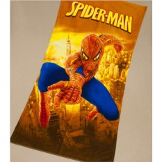 Детское махровое полотенце 75х150 Человек паук на желтом