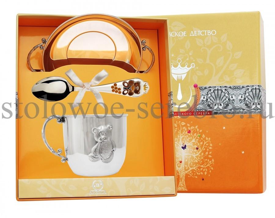 Серебряный столовый набор Мишутка, с эмалью №109