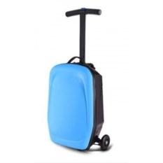 Голубой чемодан-самокат