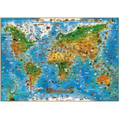 Настенная карта мира для детей «Животные»