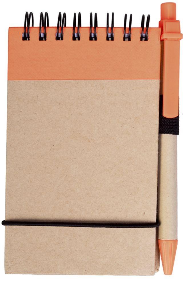 Оранжевый блокнот на кольцах Eco Note с ручкой