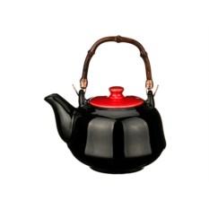 Черный заварочный чайник с красной крышкой, объем 650 мл