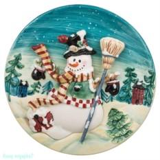 Настенная декоративная тарелка «Снеговик»