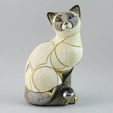 Керамическая статуэтка с позолотой Сиамская кошка