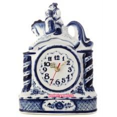 Часы Гжель с художественной росписью Сивка-бурка