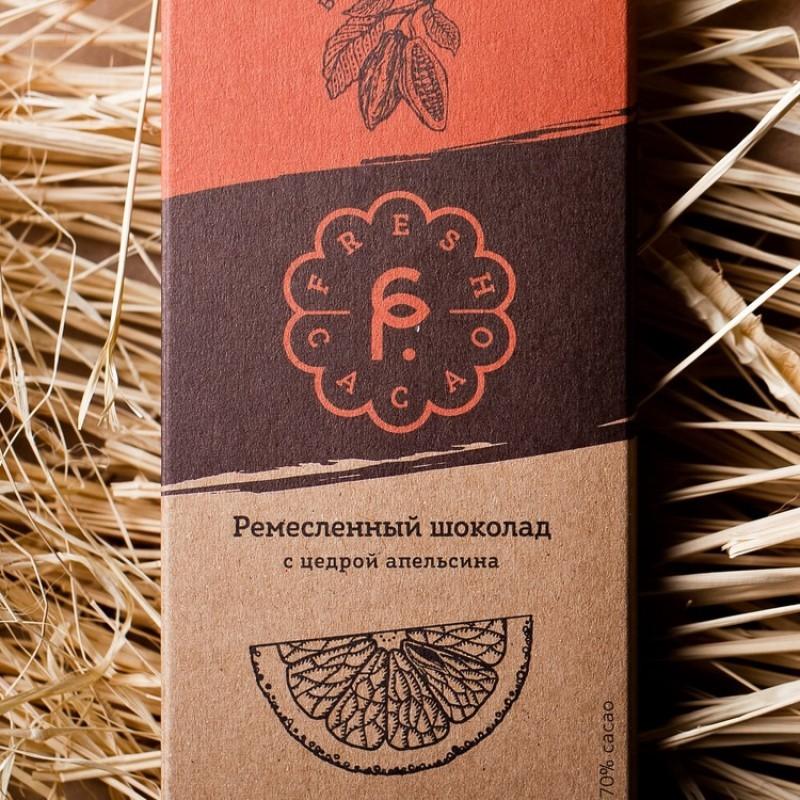 Ремесленный шоколад с цедрой апельсина 70%