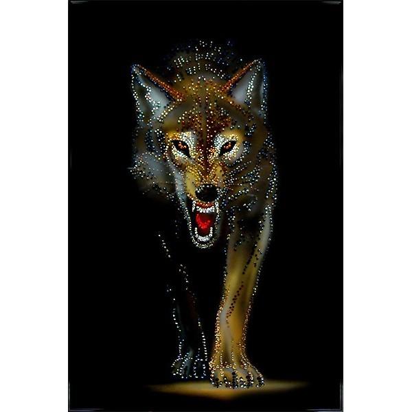 Картина Swarovski Волчья охота