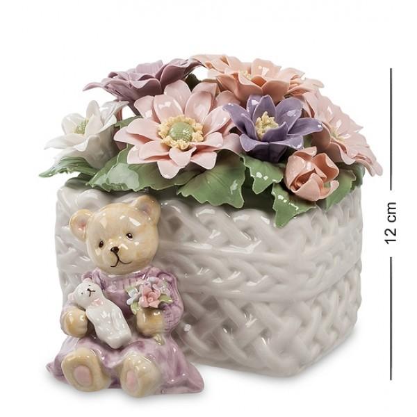 Музыкальная статуэтка Медвежонок с цветами (Pavone)