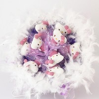 Букет из игрушек Котята с боа в фиолетовом