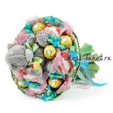 Букет конфет с игрушкой Лакомка