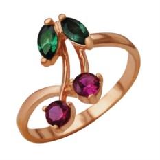 Позолоченное кольцо со шпинелем и коруном