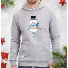 Мужская толстовка Снеговик с гирляндой (звезды)