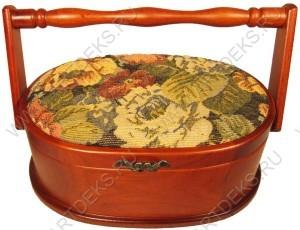 Шкатулка для рукоделия (дерево):гобелен, бархат