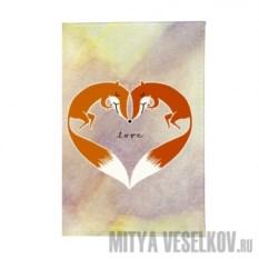 Обложка для паспорта Влюбленные лисички