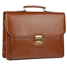 Кожаный портфель с двумя отделениями и отстегивающимся передним карманом