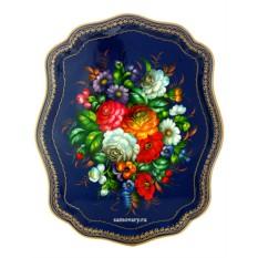 Поднос с художественной росписью Букет на синем фоне