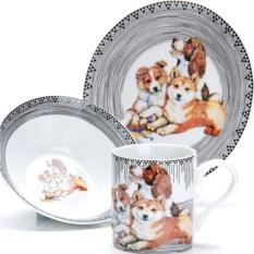 Серый набор детской посуды 3 предмета Собачки