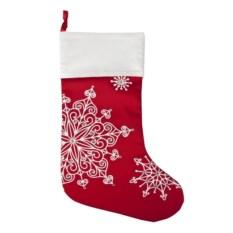 Красный носок для подарков Снежинки