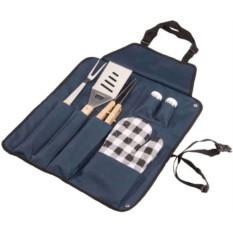 Темно-синий фартук с набором для барбекю