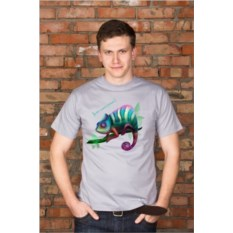 Серая мужская именная футболка Хамелеон