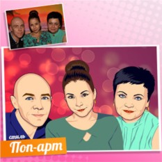 Семейный портрет на холсте по фото в стиле Поп-Арт