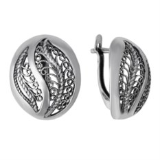 Овальные серебряные серьги