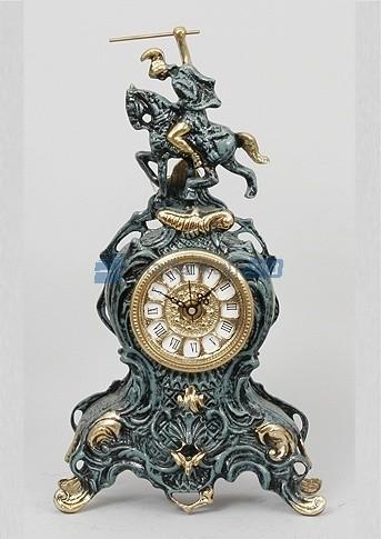 Часы из бронзы Всадник, цвет синий с золотом