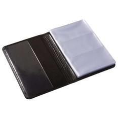 Кожаная визитница на 60 карточек, черная