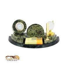 Настольный набор из камня и бронзы с часами Переговоры