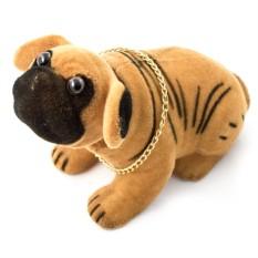 Фигурка Собака качающая головой. Бульдог рыжий