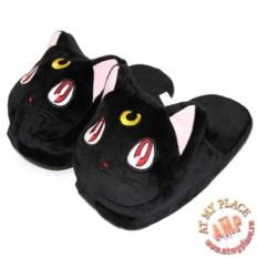 Черные тапочки-игрушки Кошка Луна