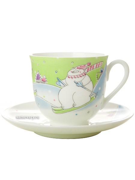 Фарфоровая кофейная чашка с блюдцем Лыжники