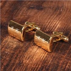 Прямоугольные запонки с гравировкой, золото