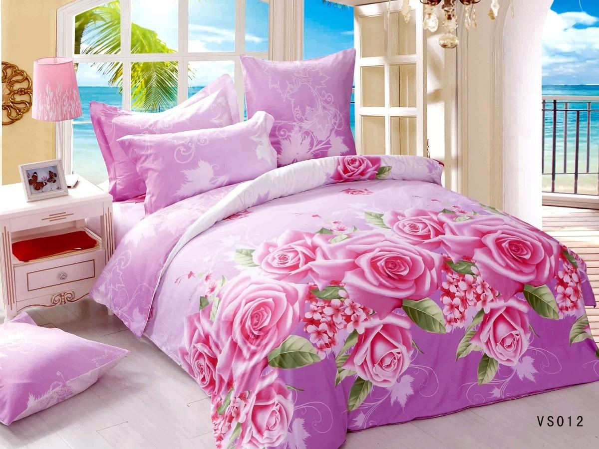 Евро комплект постельного белья, розово-фиолетовые цветы