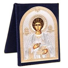 Серебряная икона Пантелеймон Целитель в бархатном футляре